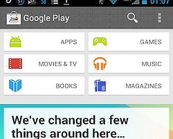 Google Play Yeni Arayüzünü Gösteriyor